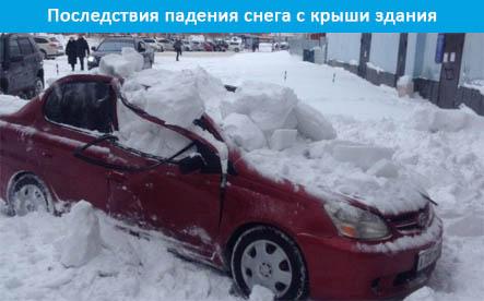 Последствия падения снега.