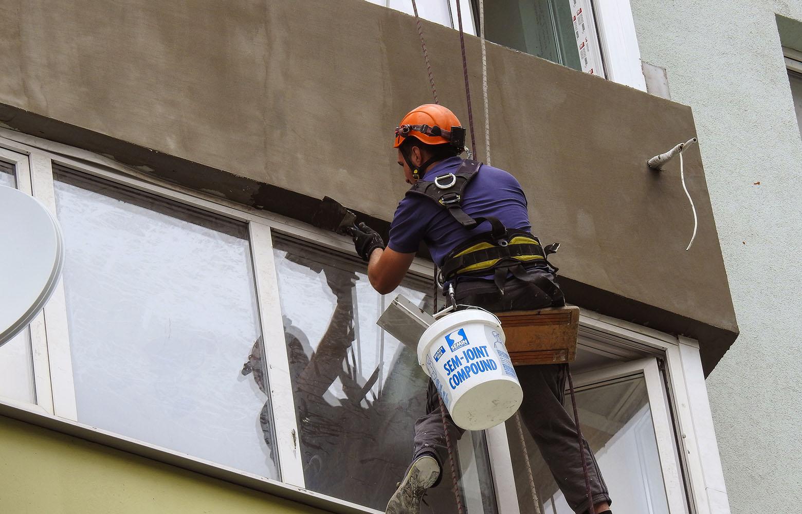 Наружное утепление балкона в Киеве.