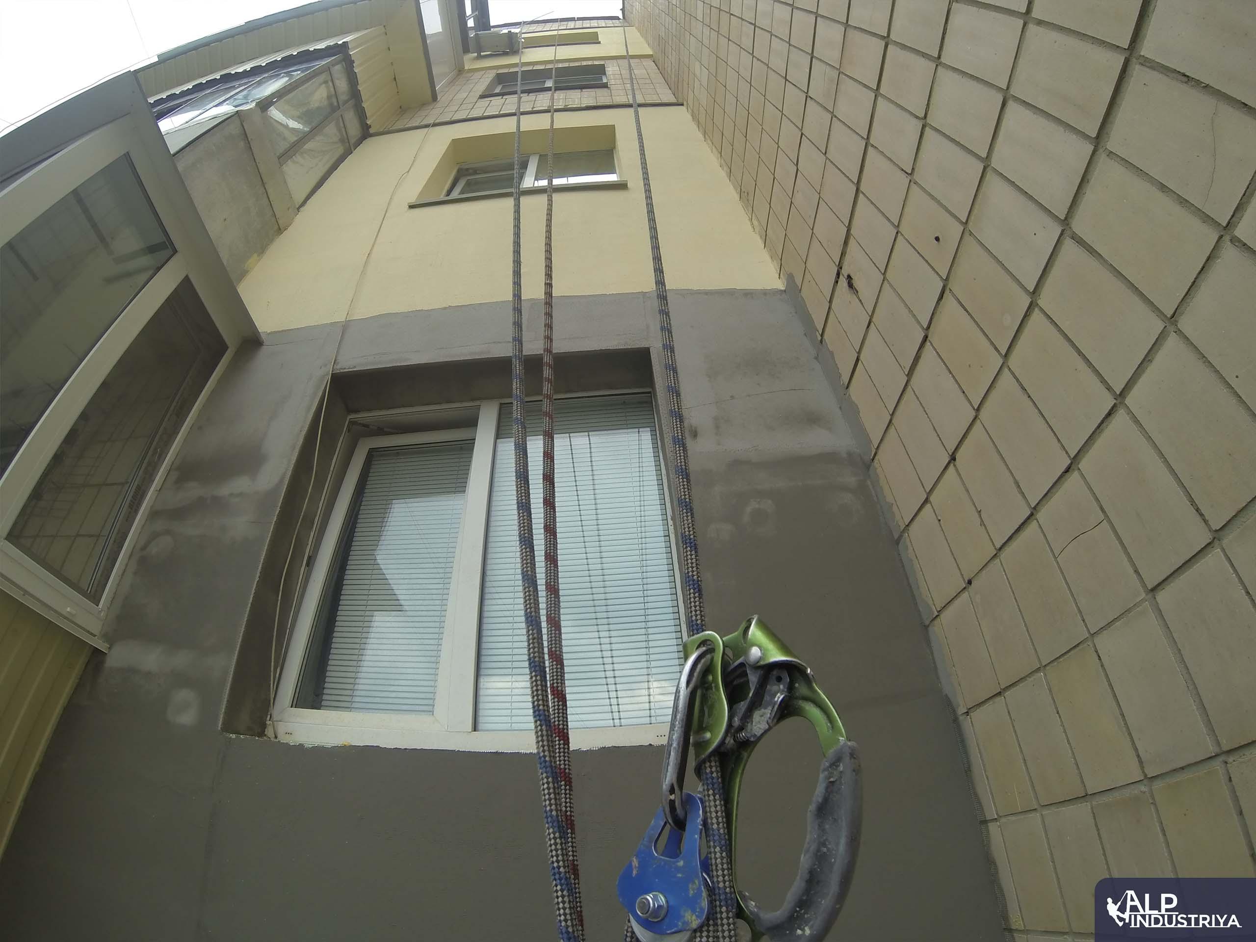 Утепление фасада многоэтажки методом промышленного альпинизма-2