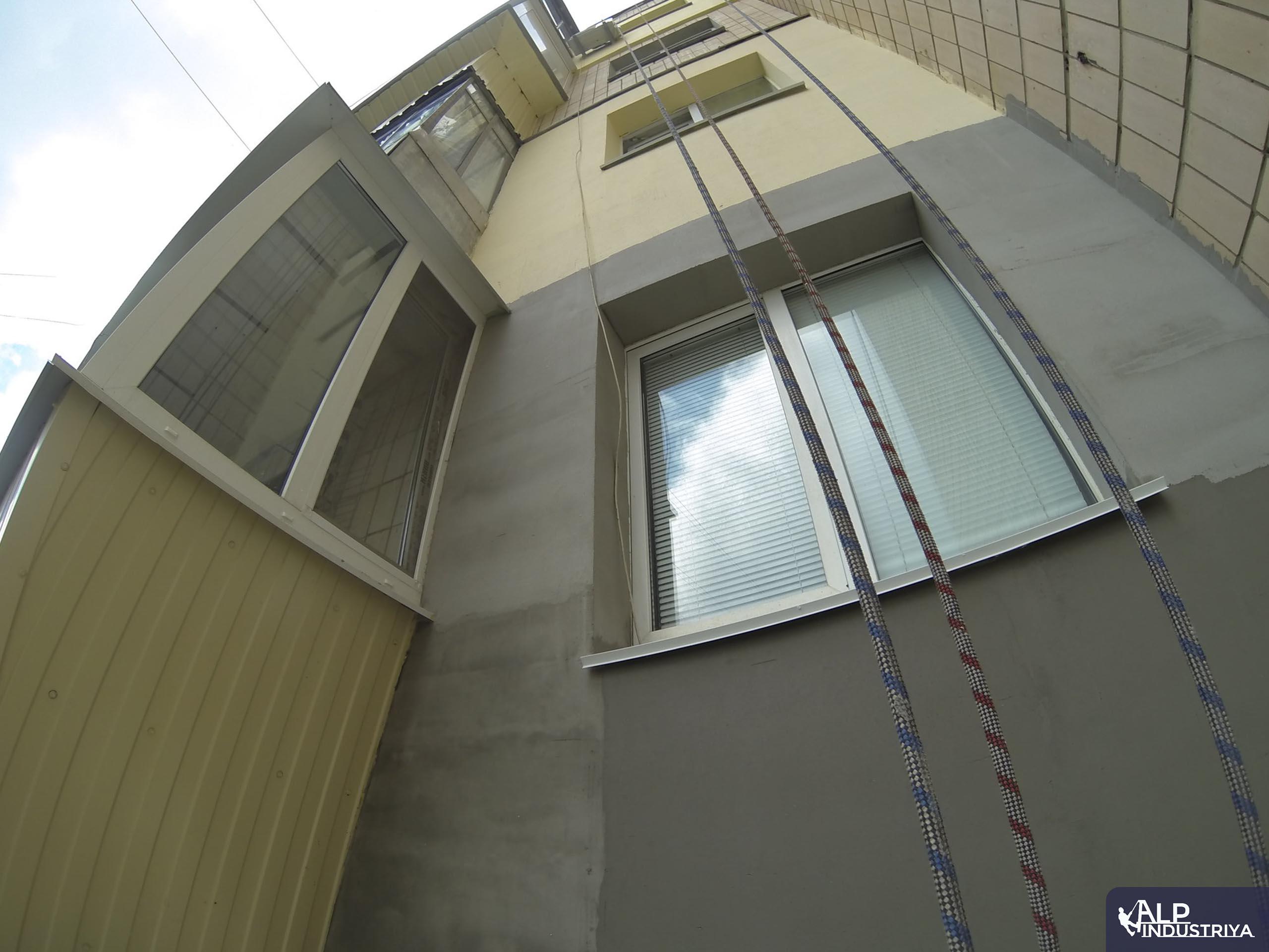 Утепление фасада многоэтажки методом промышленного альпинизма-3