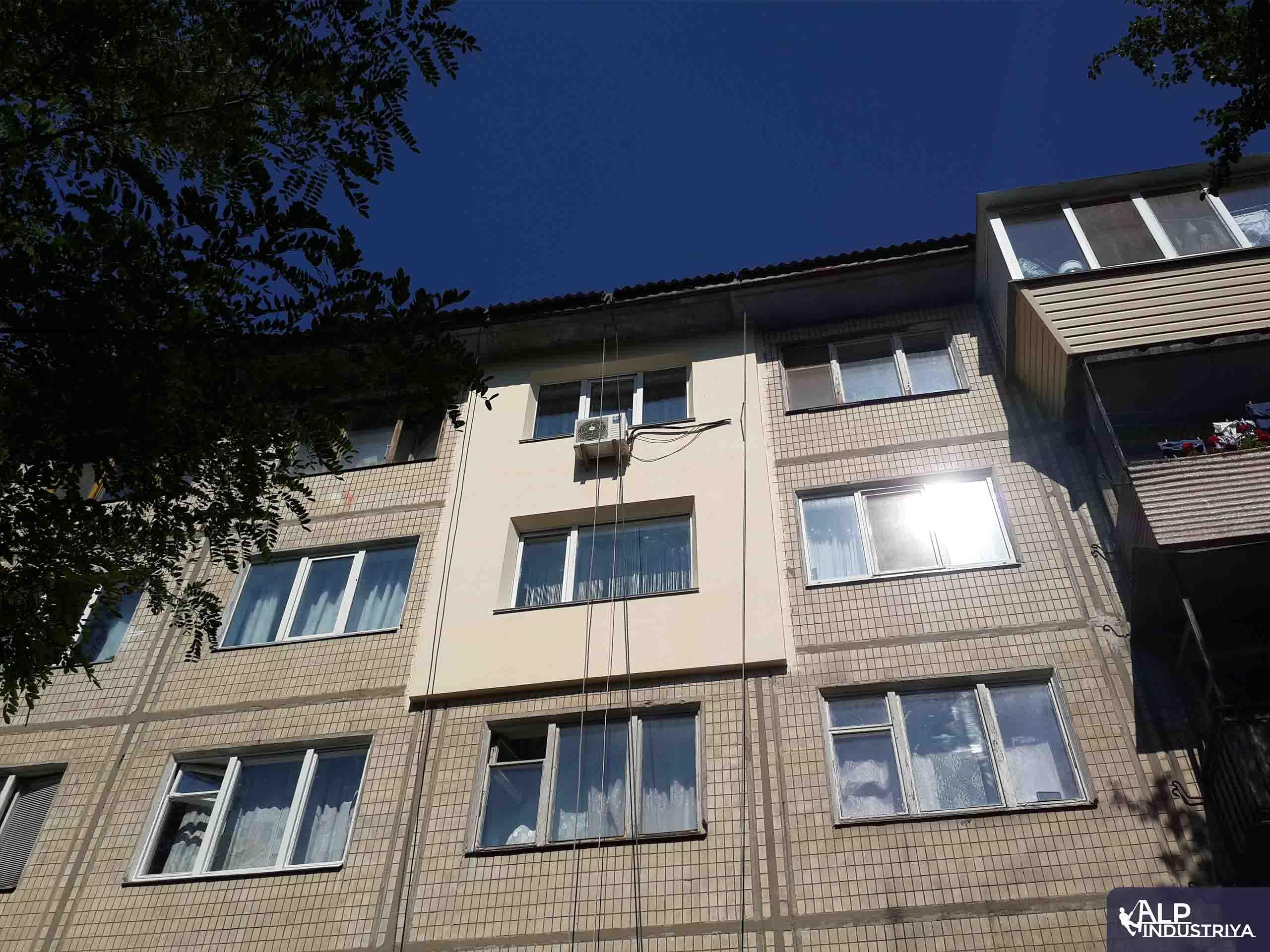 Утепление фасада квартиры на высоте пенопластом-7