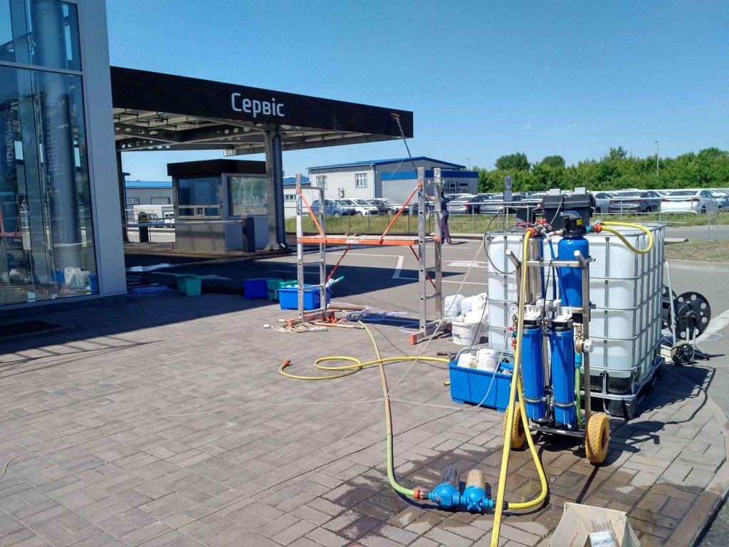 Установка для мытья деионизированной водой.